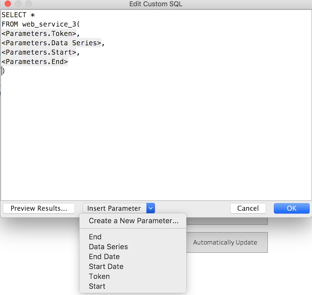 Custom SQL dialog
